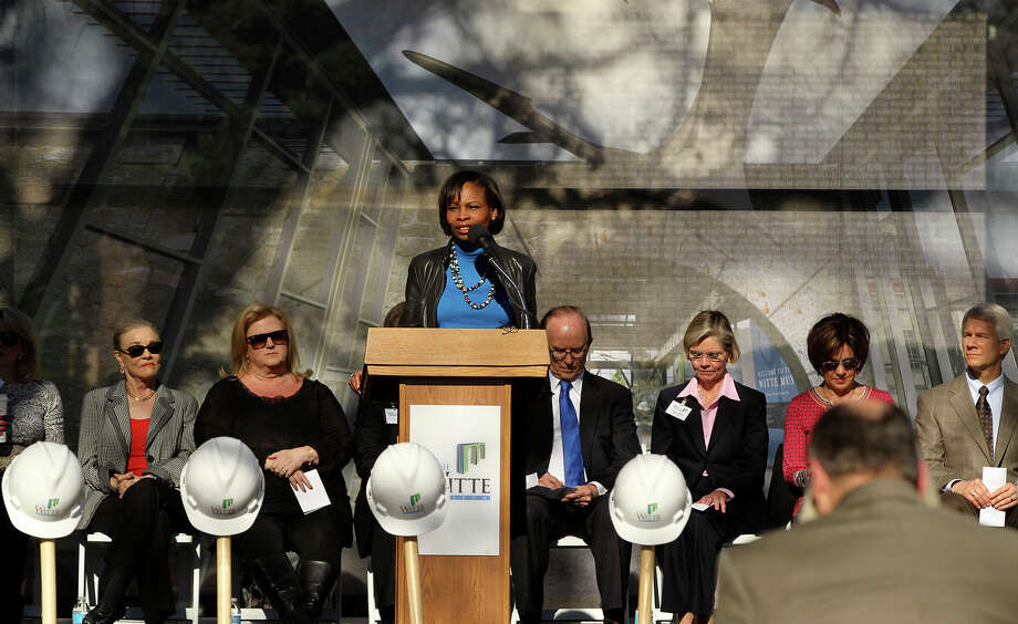 San Antonio Mayor Ivy Taylor (at lectern) speaks Monday February 9, 2015 at a groundbreaking ceremony at the Witte Museum. The ceremony marks the beginning of construction of a $60 million Phase II two-year project called the New Witte. The alterations include renovation and expansion of the main museum building, the Mays family Center, and new facade featuring a stylized representation of the Mission Espada aqueduct. Photo: JOHN DAVENPORT, STAFF / San Antonio Express-News / ©San Antonio Express-News/John Davenport