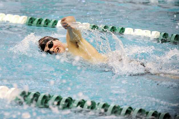 Schenectady's Sam Veglia competes in the 500-yard freestyle consolation round during boys' swim sectionals on Saturday, Feb. 14, 2015, at Shenendehowa in Clifton Park, N.Y. (Cindy Schultz / Times Union) Photo: Cindy Schultz / 00030610A