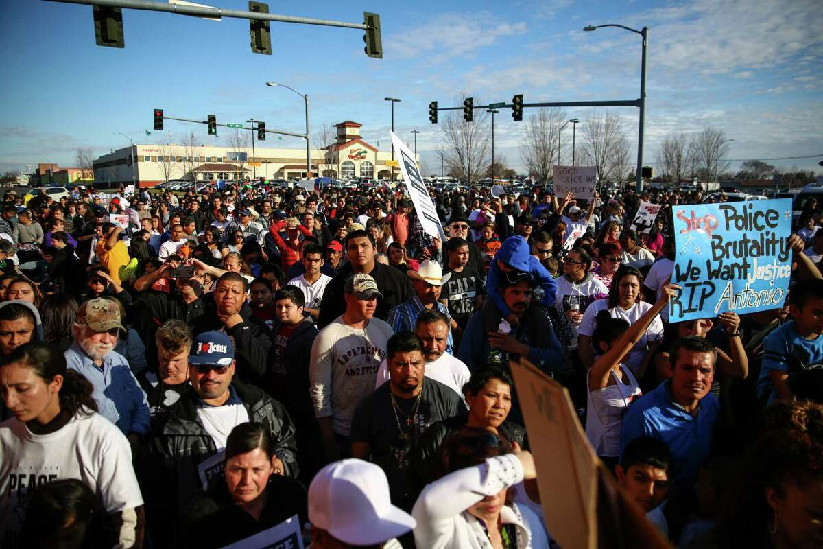 Nearly a thousand people gather during a protest rally and march for Antonio Zambrano-Montes, a Mexican immigrant that was shot and killed by Pasco police officers. Protesters marched to the scene of the shooting. Zambrano-Monte's was throwing rocks at cars and officers when three of the officers shot and killed him.