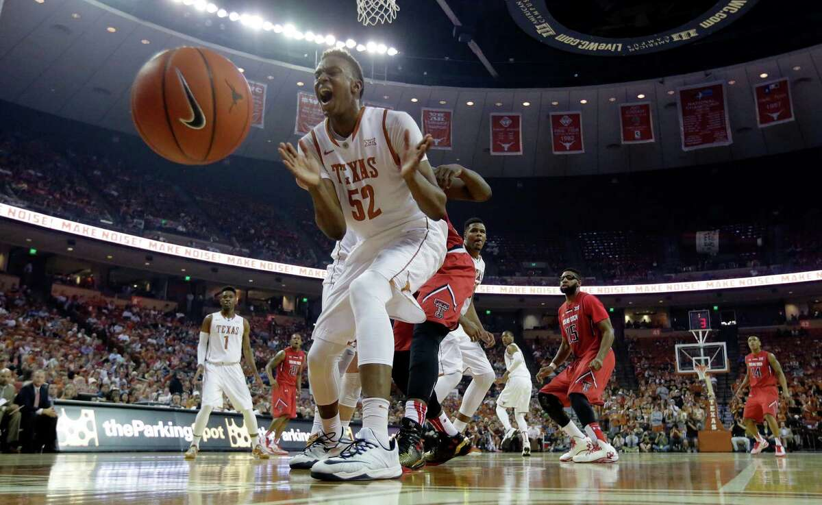 Texas?' Myles Turner (52) reacts as he loses control of the ball during the first half of an NCAA college basketball game against Texas Tech, Saturday, Feb. 14, 2015, in Austin, Texas. (AP Photo/Eric Gay)