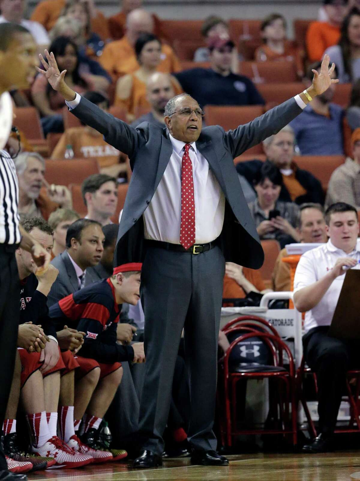 Texas Tech coach Tubby Smith calls to his players during the first half of an NCAA college basketball game against Texas, Saturday, Feb. 14, 2015, in Austin, Texas. (AP Photo/Eric Gay)