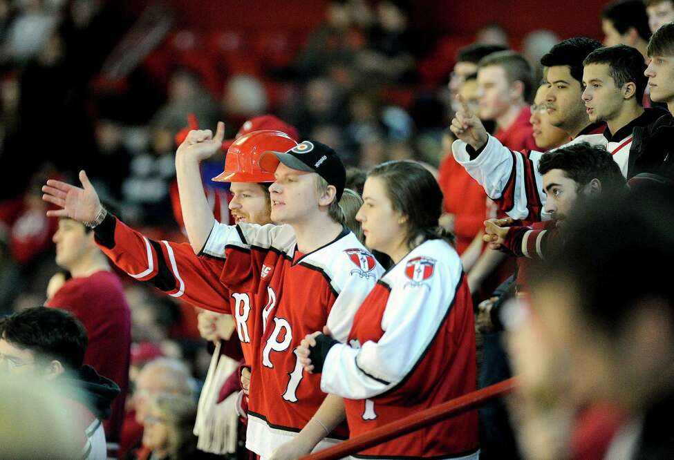 Rensselaer Polytechnic Institute fans cheer as their team plays Yale during the first period of an NCAA college hockey game in Troy, N.Y., Saturday, Feb. 14, 2015. (Hans Pennink / Special to the Times Union) ORG XMIT: HP106