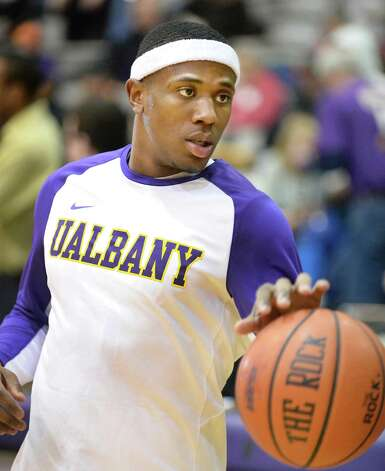 UAlbany's Evan Singletary warms up before Saturday's game with UMass-Lowell at the SEFCU Arena Feb. 7, 2015, in Albany, NY.  (John Carl D'Annibale / Times Union) Photo: John Carl D'Annibale