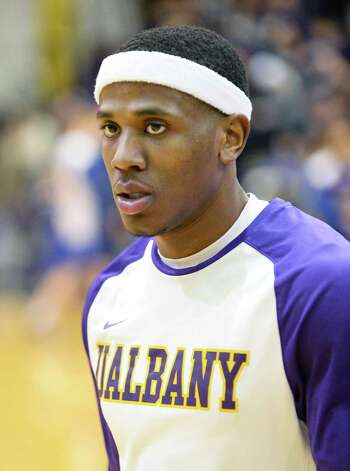 UAlbany's Evan Singletary during warms up before Saturday's game with UMass-Lowell at the SEFCU Arena Feb. 7, 2015, in Albany, NY.  (John Carl D'Annibale / Times Union) Photo: John Carl D'Annibale