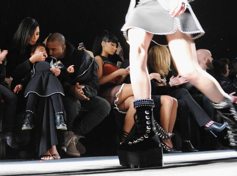 Kim Kardashian, North West, Kanye West and Nicki Minaj attend the Alexander Wang Fashion Show during Mercedes-Benz Fashion Week Fall 2015 at Pier 94 on February 14, 2015 in New York City.  (Photo by Craig Barritt/Getty Images) Photo: Craig Barritt, Getty Images