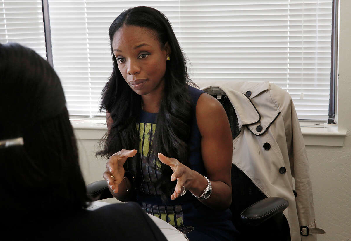 Dr. Nadine Burke Harris, founder of Center for Youth Wellness, has a meeting in her office at the center in San Francisco, Calif., on Wednesday, February 11, 2015.