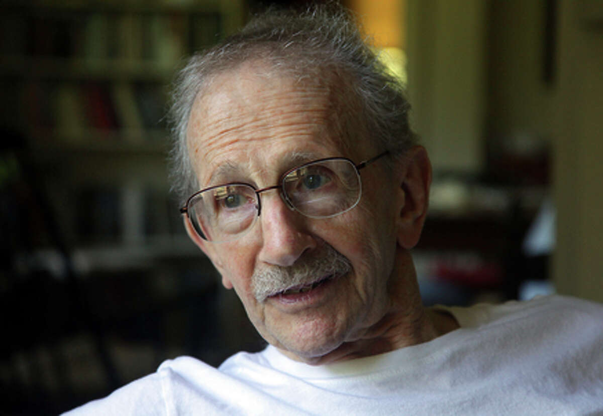 """FILE â€"""" Philip Levine at his home in Fresno, Calif., Aug. 5, 2011. Levine, a former U.S. poet laureate who received a Pulitzer Prize in 1995 for his collection """"The Simple Truth"""" and won two National Book Awards, died on Feb. 14, 2015, at his home in Fresno. He was 87. (Jim Wilson/The New York Times)"""