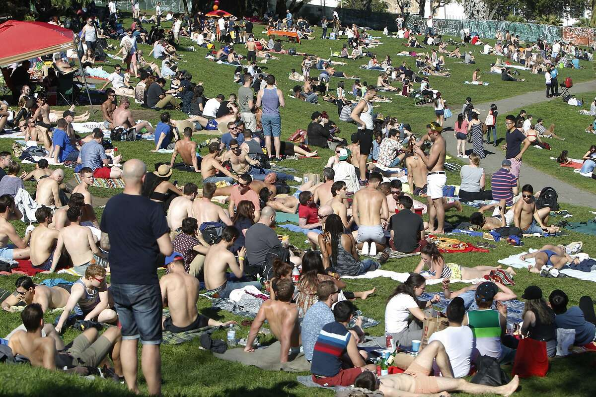 Hundreds of people flocked to Dolores Park in San Francisco, Calif. Sunday, February 15, 2015 to enjoy the rare, warm February weather.