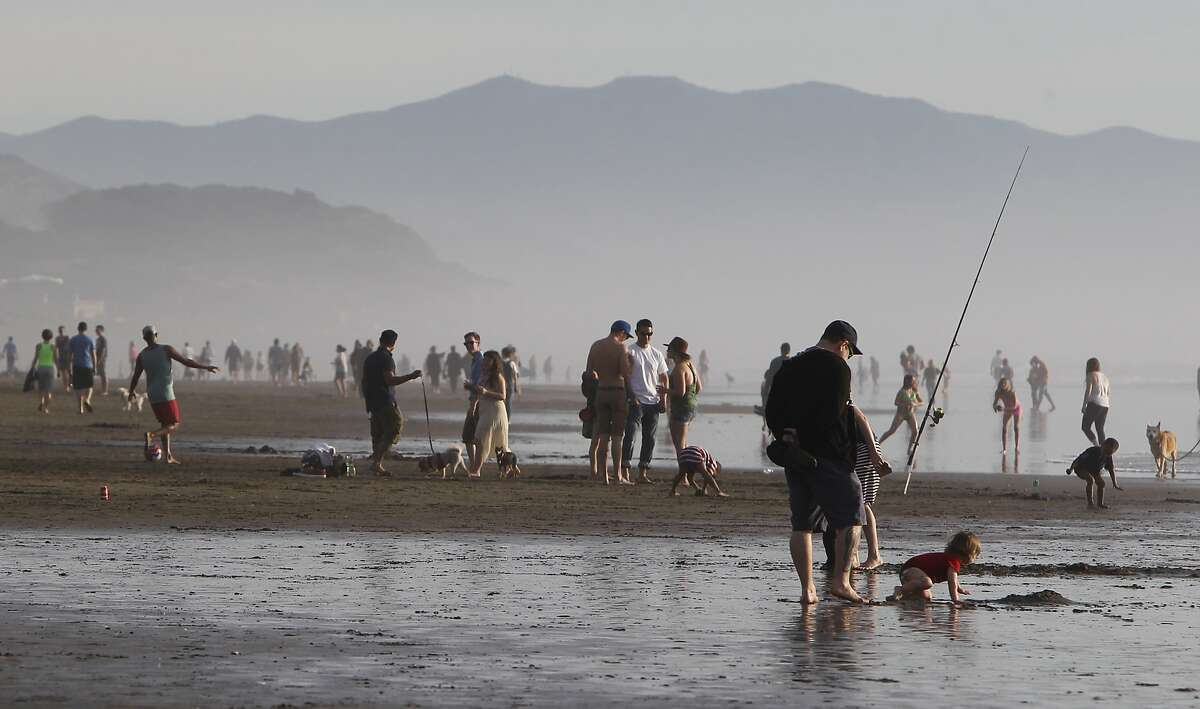 Hundreds of people flocked to Ocean Beach in San Francisco, Calif. Sunday, February 15, 2015 to enjoy the rare, warm February weather.