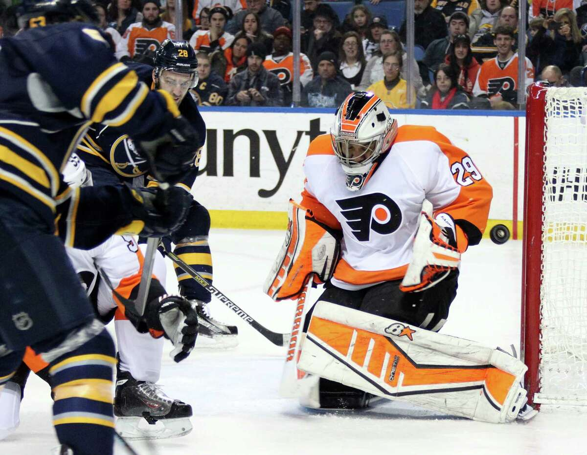 Philadelphia Flyers' Ray Emery (29) makes a save against the Buffalo Sabres during the second period of an NHL hockey game, Sunday, Feb. 15, 2015, in Buffalo, N.Y. (AP Photo/Jen Fuller) ORG XMIT: NYJF105