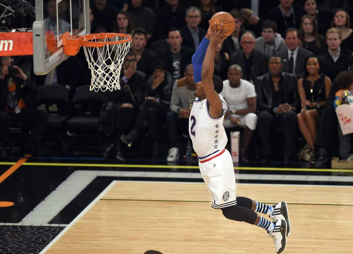 East NBA All Star John Wall of the Washington Wizards goes to the basket during the 64th NBA All-Star Game at Madison Square Garden.