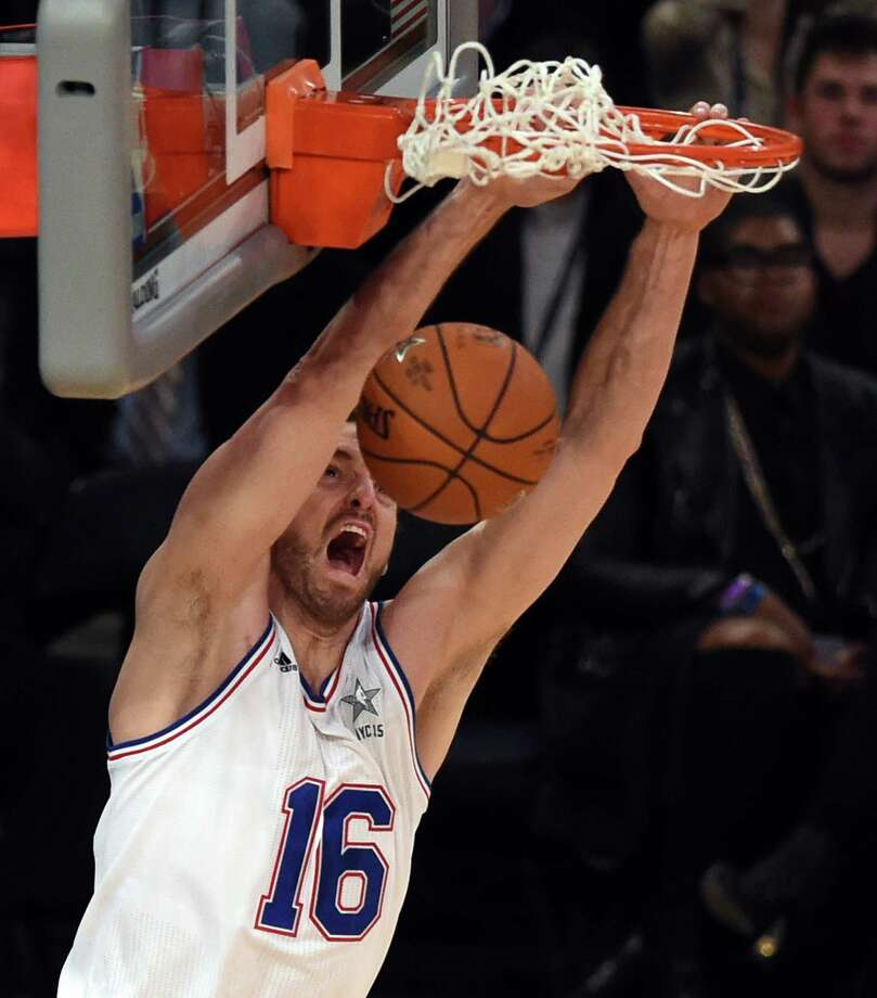 East NBA All Star Pau Gasol of the Chicago Bulls scores during the 64th NBA All-Star Game. Click ahead for 10 facts about Gasol. Photo: Timothy A. Clary /AFP / Getty Images / AFP