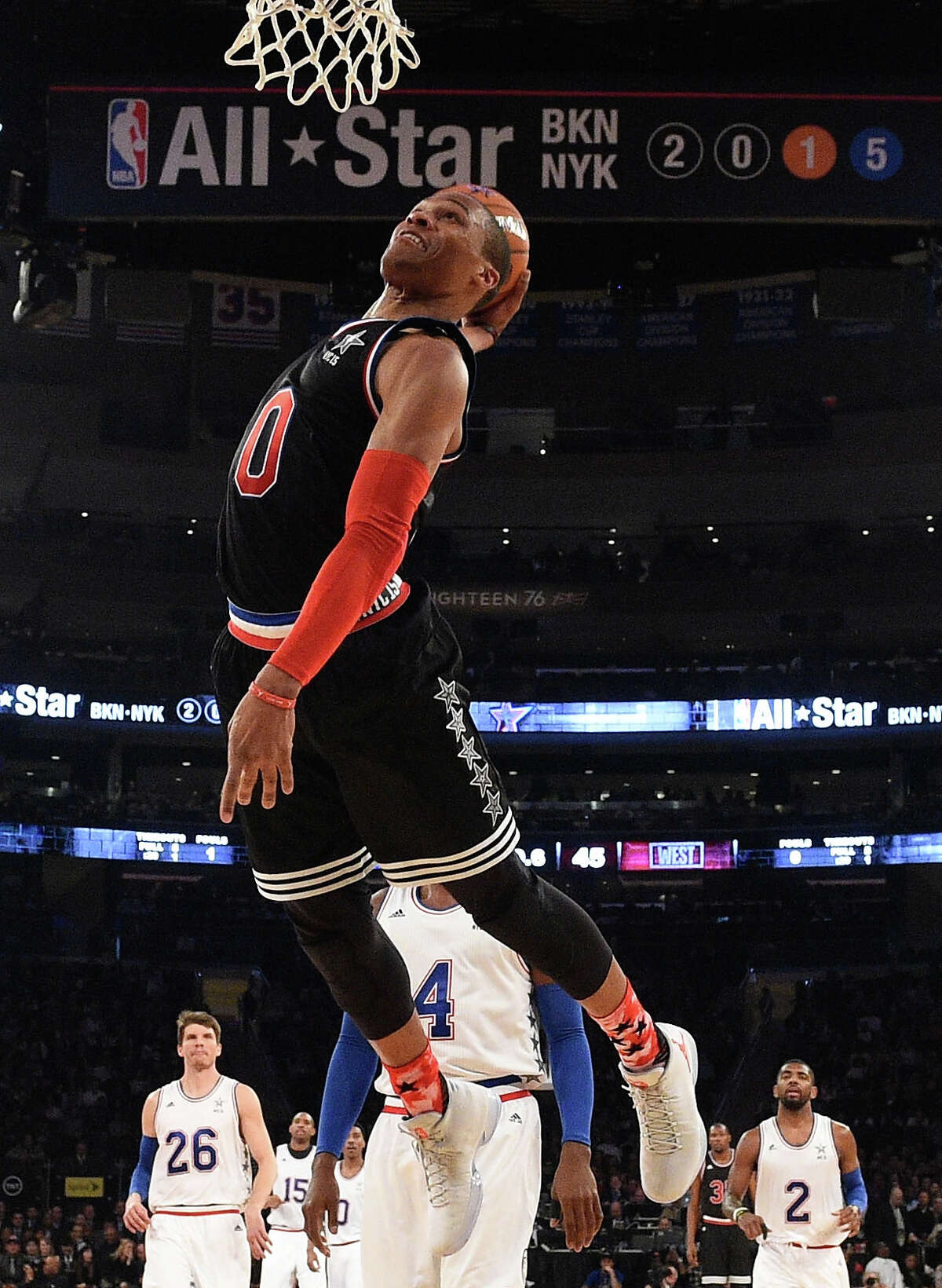 Russell Westbrook of the Oklahoma City Thunder and the Western Conference dunks the ball during the 2015 NBA All-Star Game.