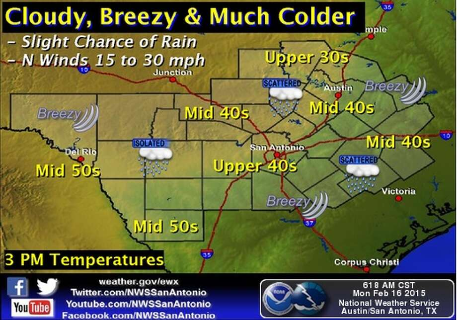A cold front is expected to hit San Antonio Monday morning. Photo: National Weather Service