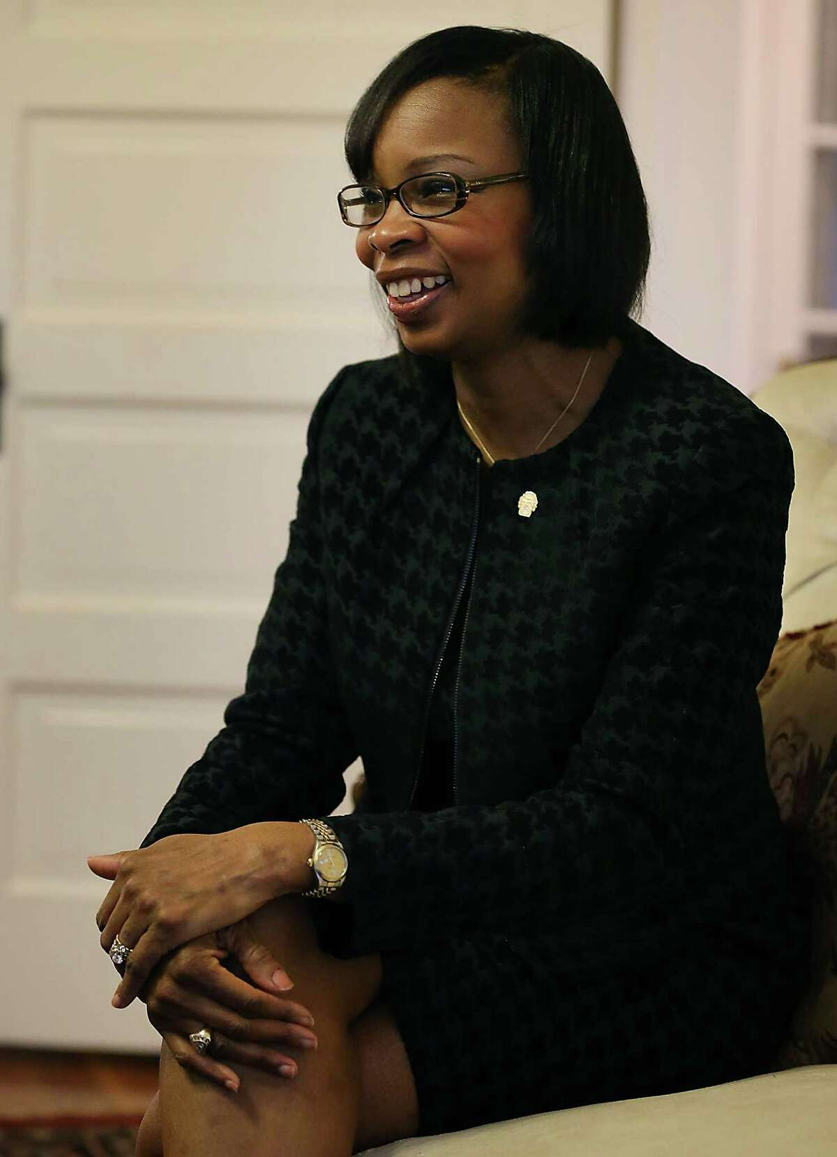 San Antonio Mayor Ivy Taylor announces her intent to run for mayor, from her home on the near east side. Monday, Feb. 16, 2015.