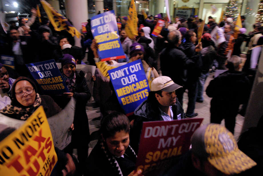 Union members demonstrating in December 2012 at Stamford Government Center. Connecticut had among the largest increases in union membership in the nation in 2014, according to new estimates by the U.S. Census Bureau. Photo: Keelin Daly / Stamford Advocate