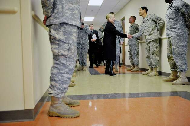 Sen. Kirsten Gillibrand greets soldiers during a tour of the SSG Horace D. Bradt Army Reserve Center on Sunday, Feb. 15, 2015, in Schenectady, N.Y.  As a member of the Senate Armed Services Committee, Gillibrand helped to secure $20 million for the construction of the new center.    (Paul Buckowski / Times Union) Photo: Paul Buckowski / 00030625A