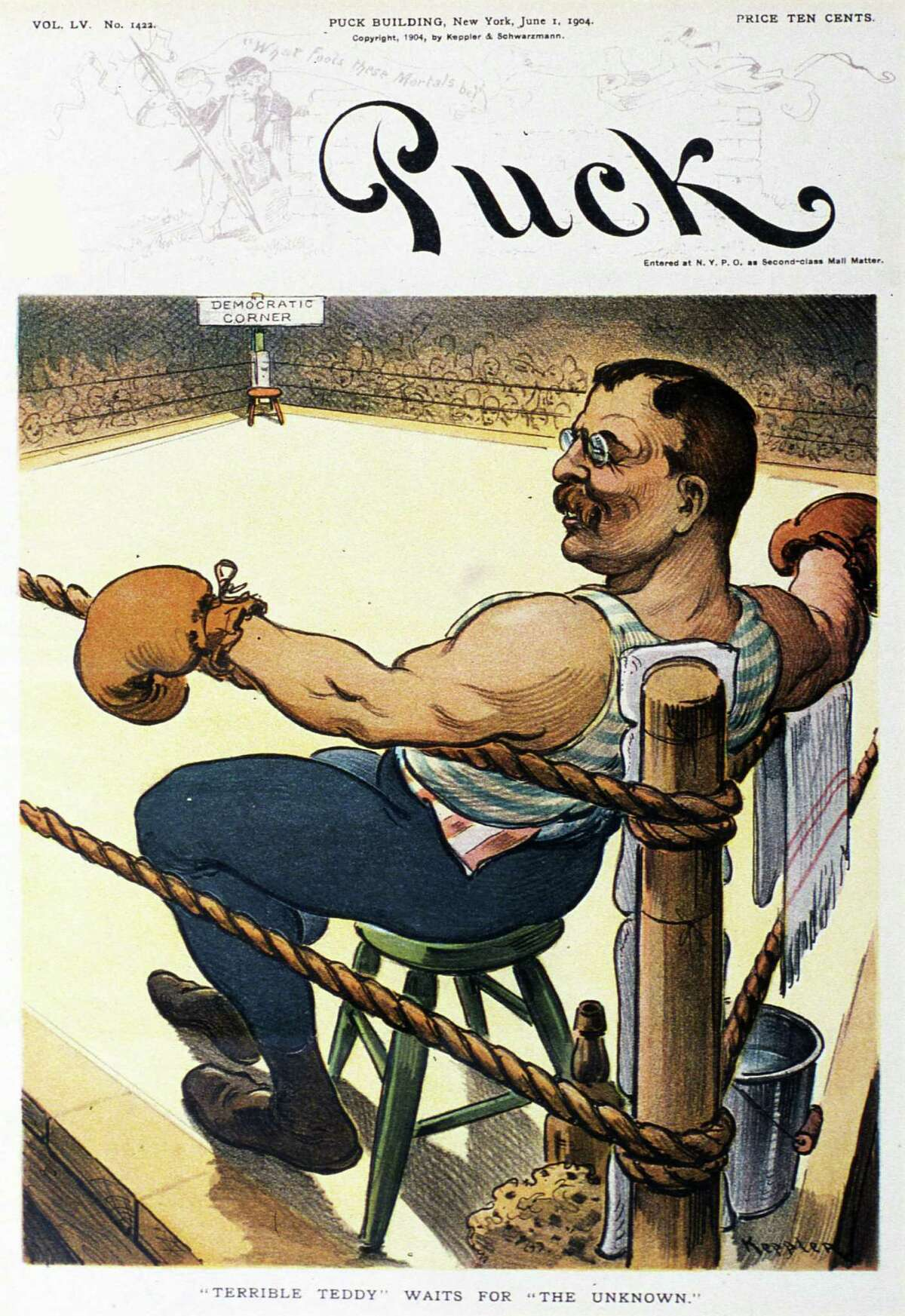 THEODORE ROOSEVELT, 1901-09 Roosevelt, a noted pugilist as evidenced with this magazine cover, was second in Harvard's lightweight boxing championship in 1879.