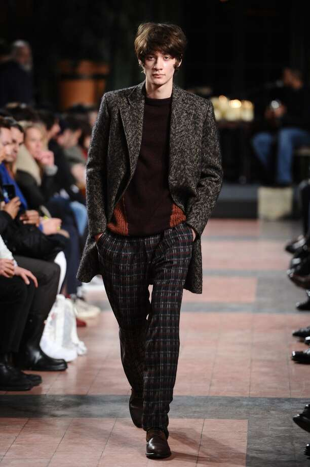 NEW YORK, NY - FEBRUARY 14:  A model walks the runway at the Billy Reid Men's show during Mercedes-Benz Fashion Week Fall 2015 at The Bowery Hotel on February 14, 2015 in New York City. Photo: Ron Adar, Getty Images