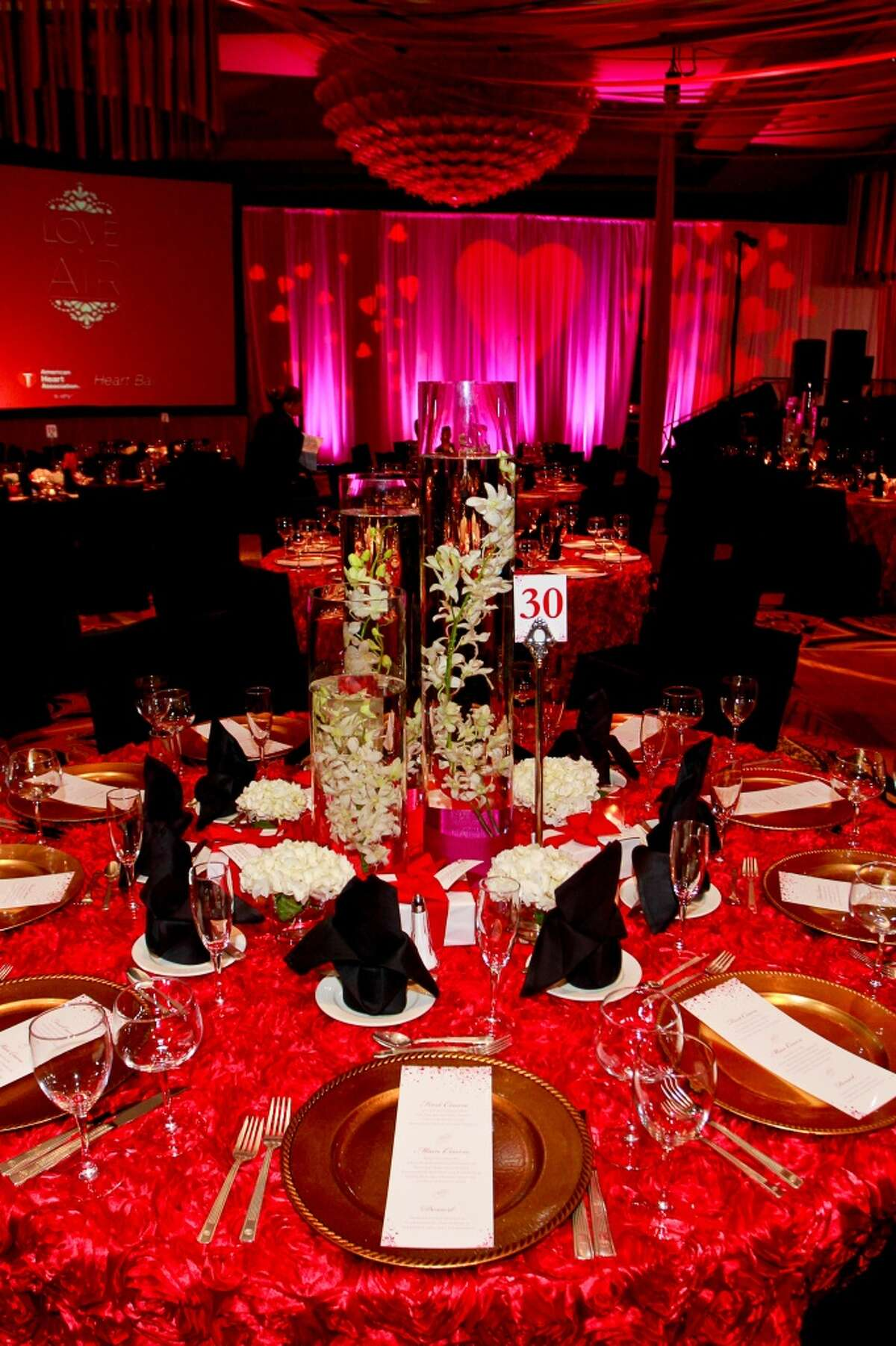 Decorations for the Houston Heart Ball benefiting American Heart Association