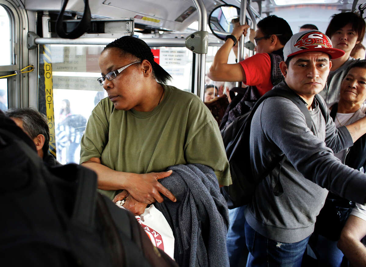 After not being offered a seat on Muni's 47-Van Ness line, Toya Steward of San Francisco talks about the pushing she often endures in the aisles when riding public transportation.