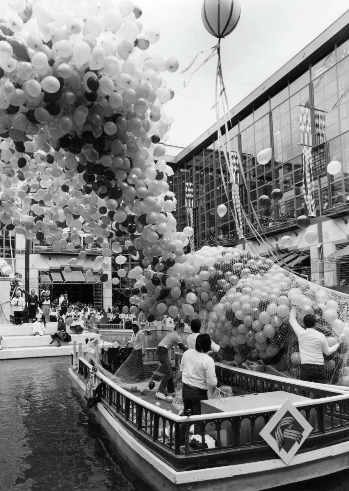 The balloon release for the Rivercenter Mall opening ceremonies, February 20, 1988.