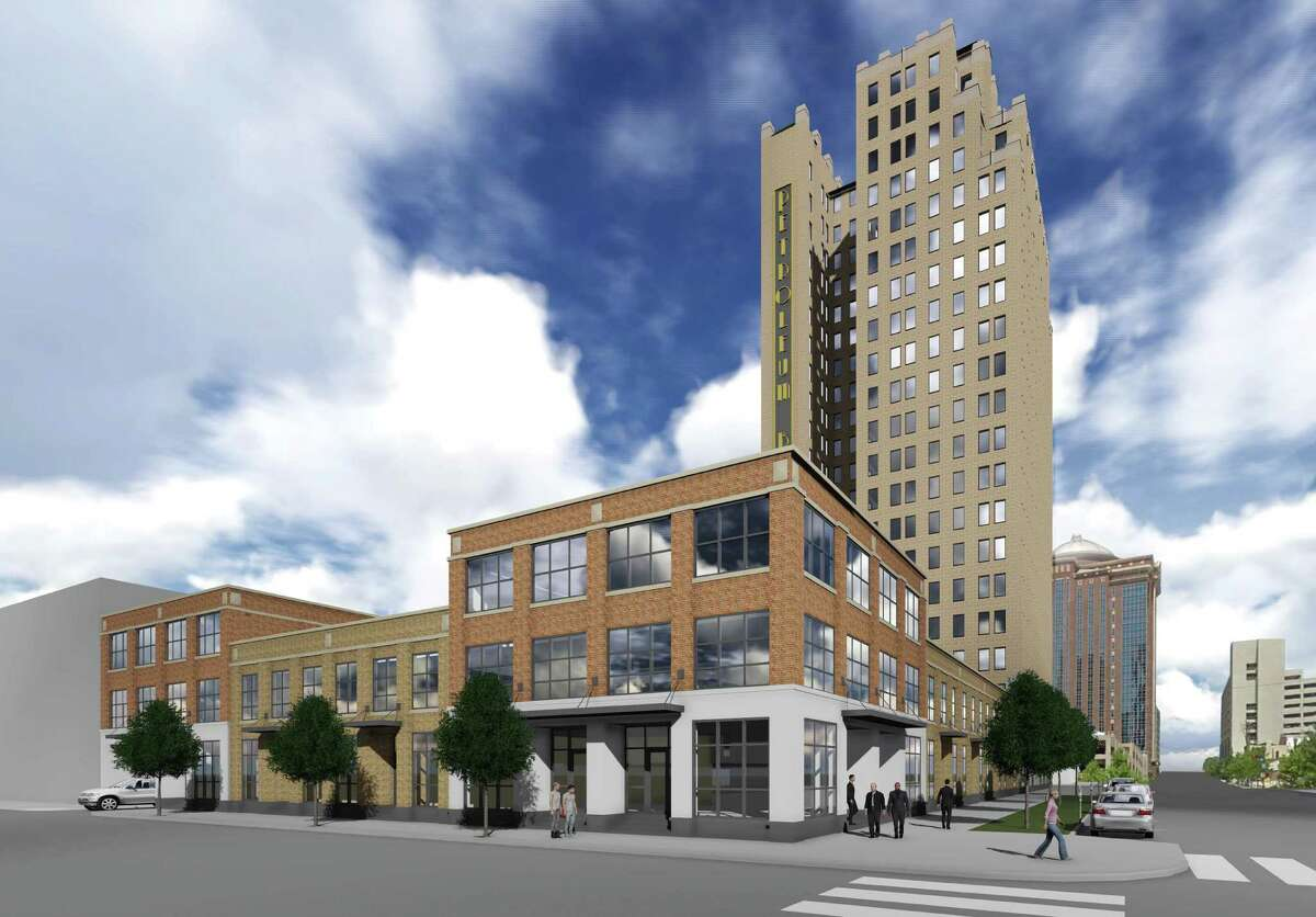Developers hope to turn the Great Southwest Building, left, into a residential tower. Also planned nearby is a new tower, right.