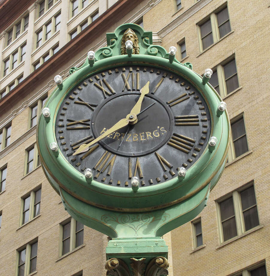 The Hertzberg Clock stands at the corner of Houston and St. Mary's streets. In 1878, Eli Hertzberg installed the clock outside his jewelry shop on Commerce Street. When the shop moved to Houston and St. Mary's streets in 1910, the clock followed. Photo: Benjamin Olivo /San Antonio Express-News