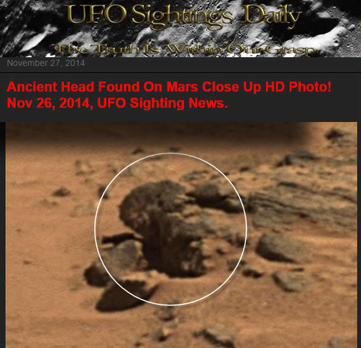 UFO Sightings Daily says it has spotted a statue of President Barack Obama on Mars in a composite image taken from NASA rover cameras. We think it's a rock. What's your take?PHOTOS: More weird things spotted on the surface of Mars