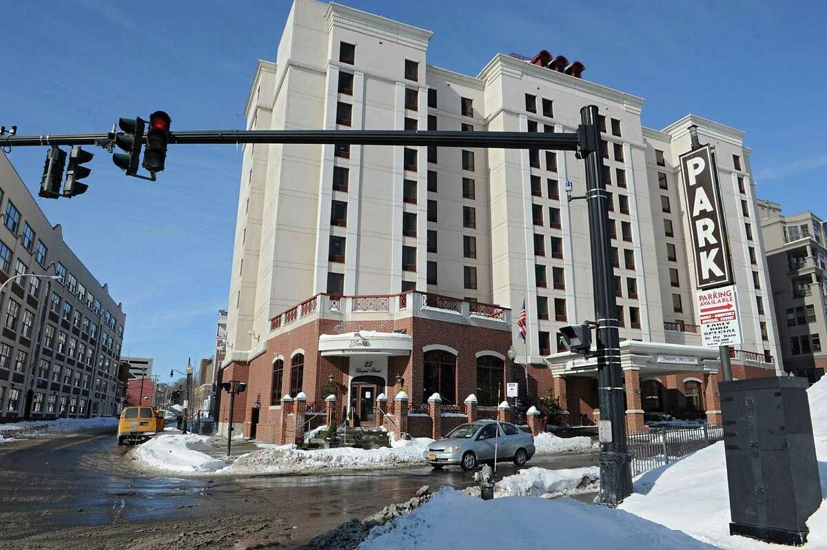 Exterior of Hampton Inn and Suits in Albany, N.Y. (Lori Van Buren / Times Union)