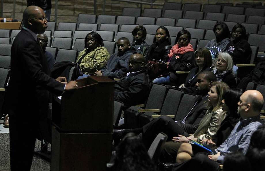 Spring Independent School District Superintendent Dr. Rodney Watson speaks during a meeting with parents and teachers on Spring ISD's scheduling and transcript management practices, at Dekaney High School Monday, Feb. 16, 2015, in Spring. Photo: James Nielsen, Houston Chronicle / © 2015  Houston Chronicle