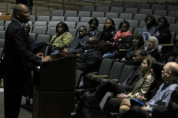 Spring Independent School District Superintendent Dr. Rodney Watson speaks during a meeting with parents and teachers on Spring ISD's scheduling and transcript management practices, at Dekaney High School Monday, Feb. 16, 2015, in Spring.