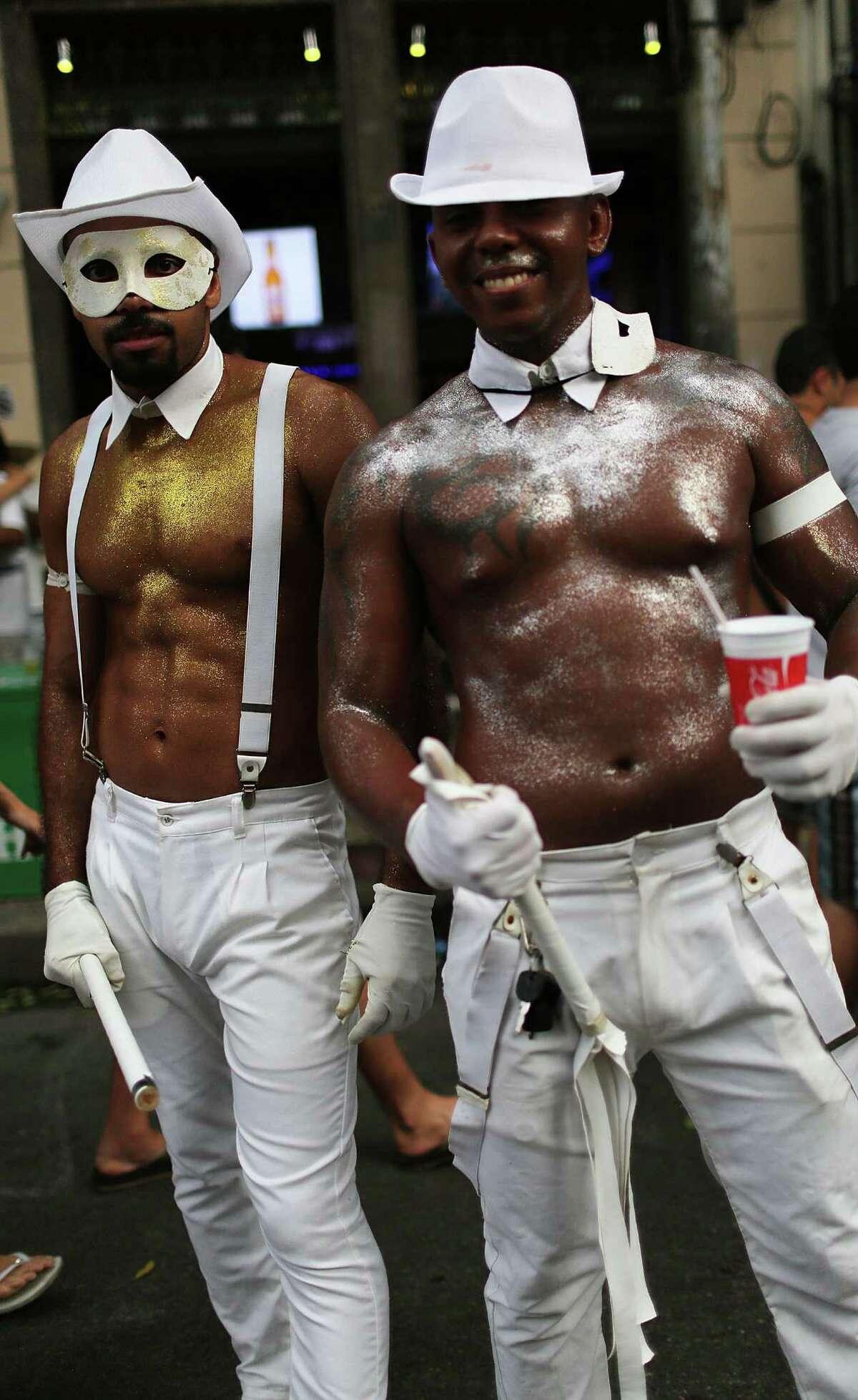Revelers pose during street Carnival celebrations on Feb. 16, 2015 in Rio de Janeiro, Brazil. Official Carnival celebrations run until February 17.