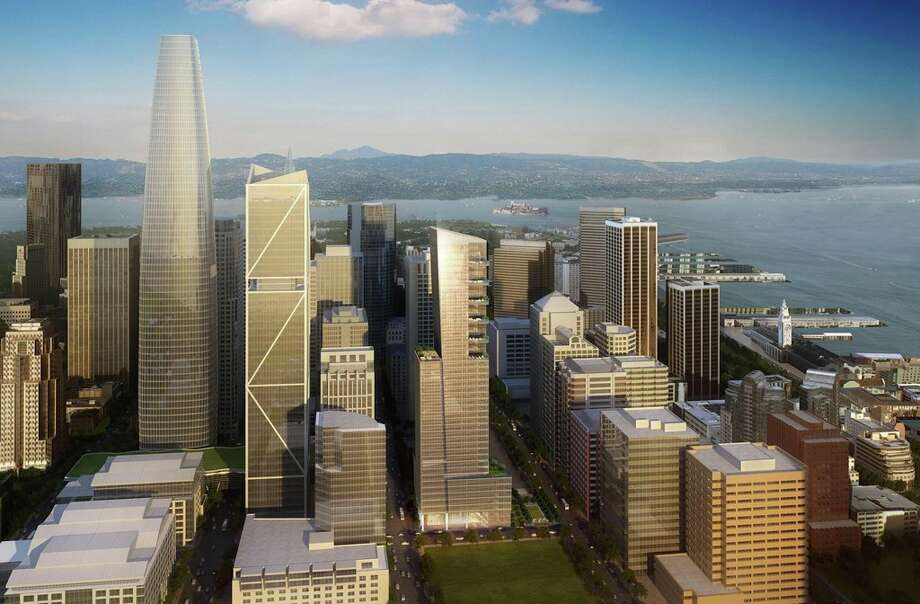 A rendering of the proposed Park Tower at Transbay (center) with several other developments including the Salesforce tower (left). Photo: Parktowerattransbay.com