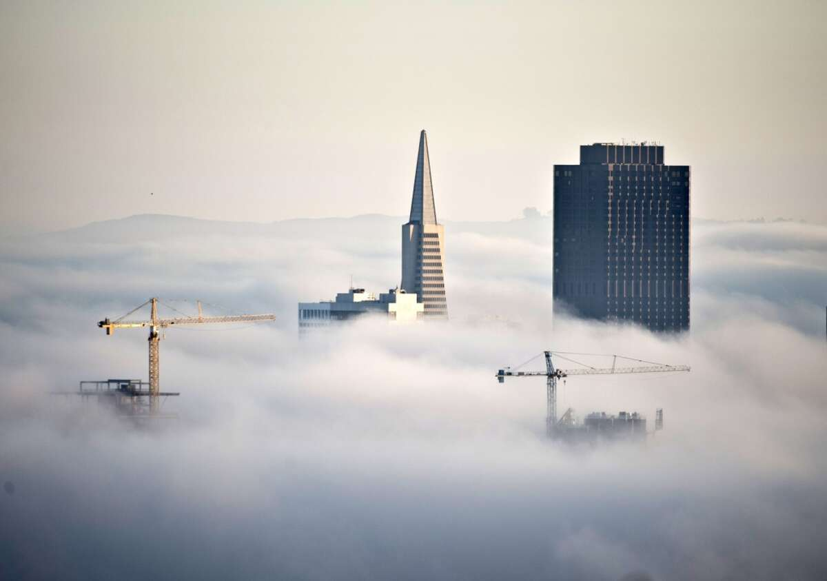 Construction cranes join the Transamerica Pyramid and 555 California Street (R) jutting through the fog at sunrise in San Francisco on October 20, 2013. San Francisco is seeing a boom in new housing and commercial construction alter the skyline.