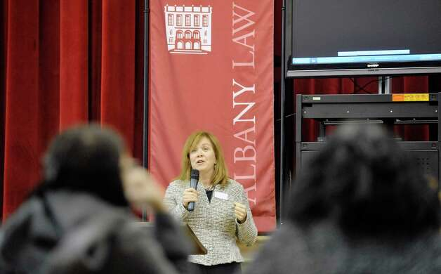 Albany Law School Dean Alicia Ouellette welcomes students at the start of Youth Law Day at the Albany Law School on Tuesday, Feb. 17, 2015, in Albany, N.Y.  The program is sponsored by the New York State Bar Association's Committee on Diversity and Inclusion.  The event was last held in 2008.  The goal of the program is to introduce high school students to the legal profession and the law school experience.   (Paul Buckowski / Times Union) Photo: PAUL BUCKOWSKI / 00030583A