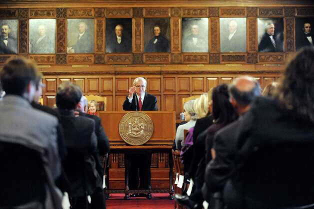 Chief Judge Jonathan Lippman, center, delivers the State of the Judiciary on Tuesday, Feb. 17, 2015, at the Court of Appeals in Albany, N.Y. (Cindy Schultz / Times Union) Photo: Cindy Schultz / 00030651A