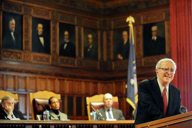 Chief Judge Jonathan Lippman, right, delivers the State of the Judiciary on Tuesday, Feb. 17, 2015, at the Court of Appeals in Albany, N.Y. (Cindy Schultz / Times Union) Photo: Cindy Schultz / 00030651A