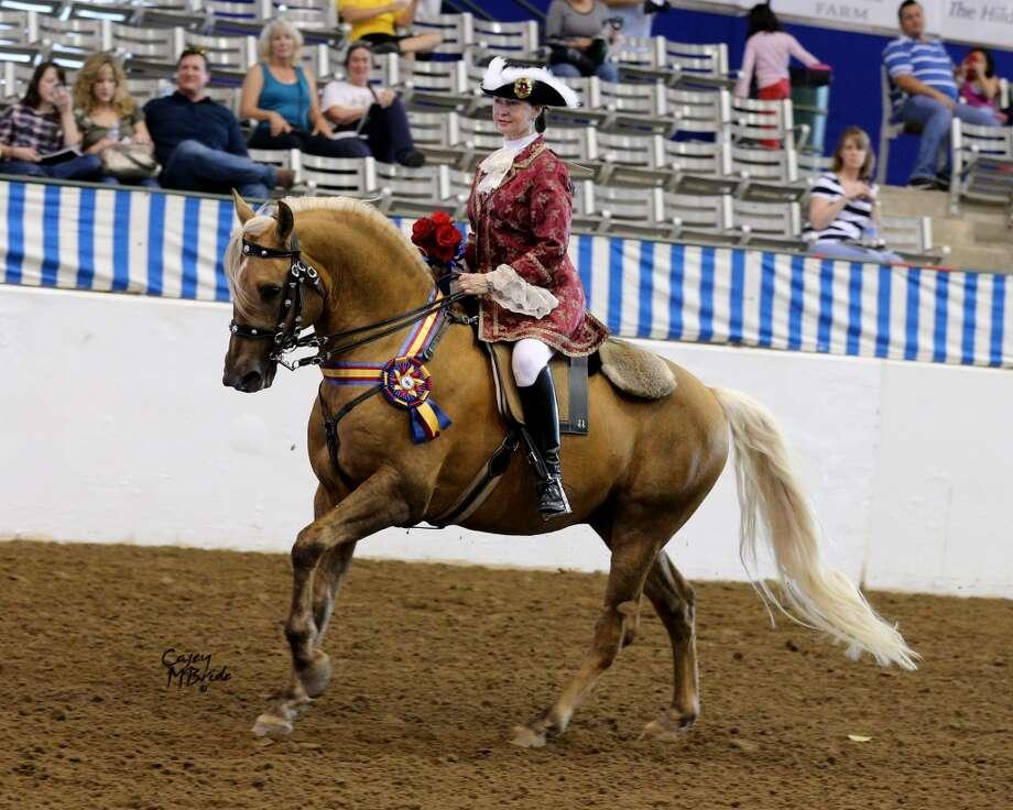 El caballo Amuleto, campeón de Clase de Traje de Patrimonio, montado por su dueña Linda Graham. Photo: Casey McBride, Cortesía De Pin Oak Charity Show.