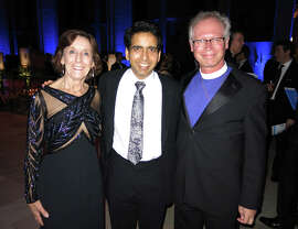 Jane Shaw Carpenter (left) with Sal Khan and the Rt. Rev. Marc Andrus at the Carnivale fundraiser.