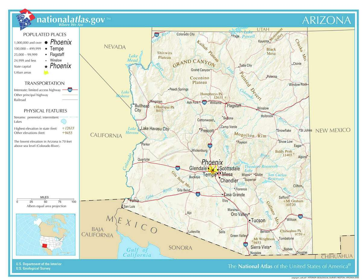 Arizona No. 3 among top 10 source states for firearms of U.S. origin seized in Mexico. Total firearms of Arizona-origin seized in Mexico, 2009-2014: 4,809 Percent of total U.S.-origin arms traced to Arizona: 14.6 percent Map credit: United States Geological Survey