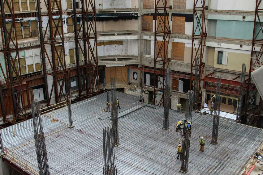 The Rivercenter Mall is undergoing a large construction project to add a Dave and Buster's Restaurant and other stores to the historic Joske's building.