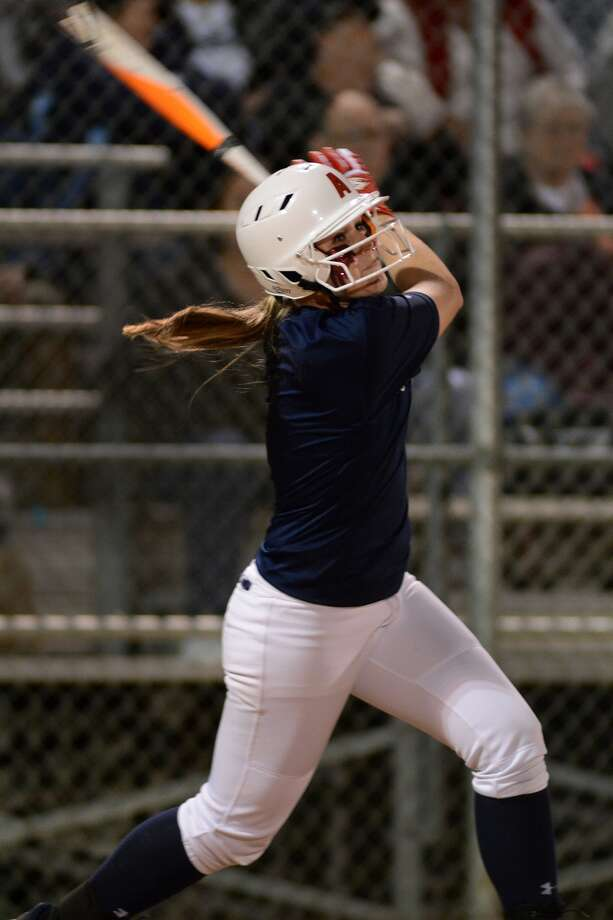 Atascocita junior Shelby McGlaun works at the plate against Splendora during their scrimmage at AHS on Feb. 13. Photo: Jerry Baker, Freelance