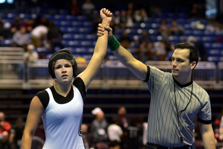 Clear Falls' Elissa Douglass finished second at the UIL State Wrestling Meet. Photo: Jerry Baker, Freelance