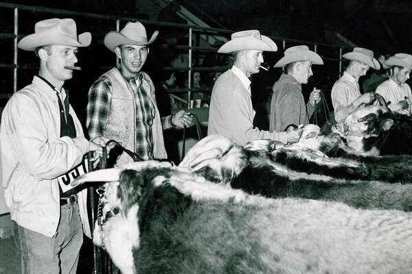 Professional Hereford judges and showmen gather at the 1965 Houston Livestock Show and Rodeo.