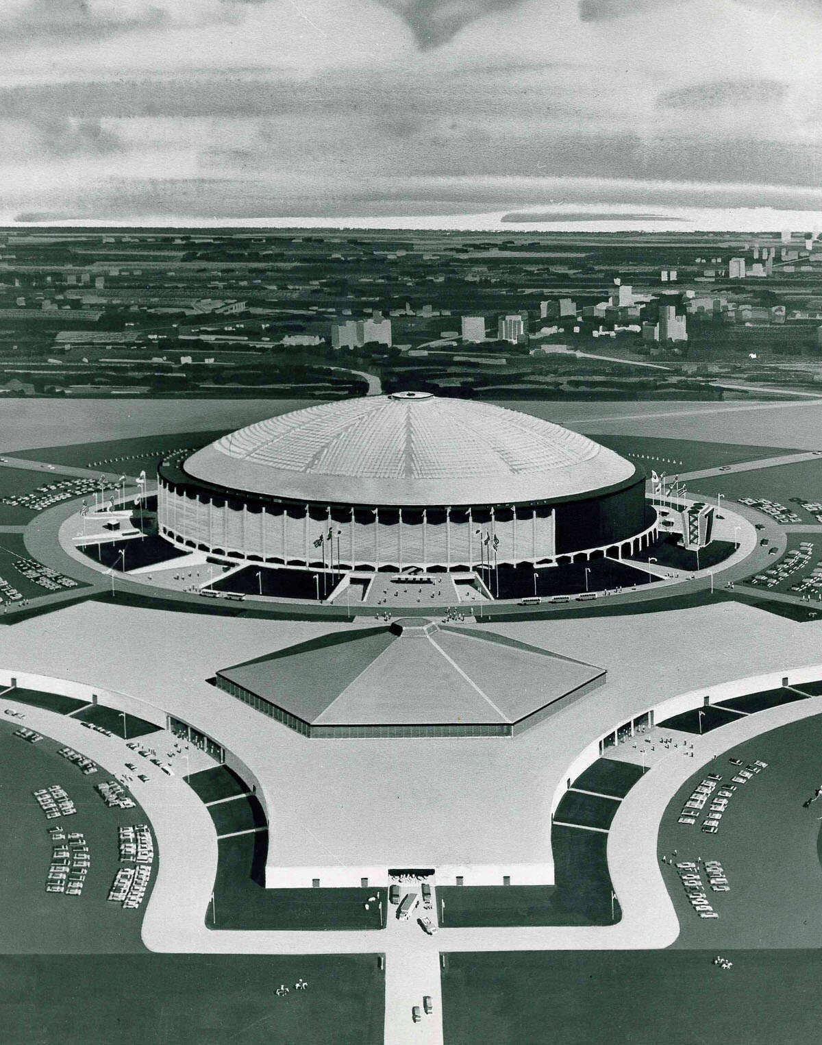 The year 1966 was the first year the Houston Livestock Show and Rodeo was held in the AstroDome. This is a 1965 rendering of the AstroHall as it would look when it was completed.