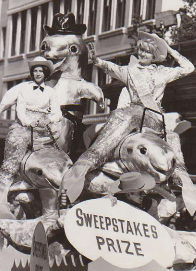 A float representing Sea Arama of Galveston makes its way through downtown Houston during  the 1965 Houston Livestock Show and Rodeo parade. Photo: Houston Chronicle File Photo