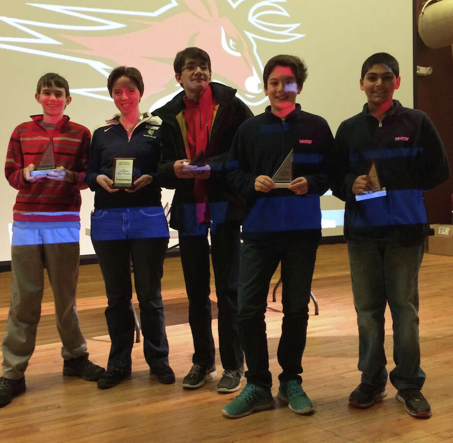 Whitby School's math team advanced to the state championships of the MATHCOUNTS competition after strong performances at a chapter tournament at Fairfield University. From left, are: Noah Bryan, seventh grade; Maureen Malley, upper school math teacher; Jacob Buehler, eighth grade; Eric Osband, eighth grade; and Neev Suryawanshi, eighth-grade. Photo: Contributed Photo, Greenwich Time / Greenwich Time