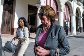 House Minority Leader Nancy Pelosi of San Francisco, arrives at the Saratoga Hotel in Havana. She is heading the first congressional delegation to Cuba since President Obama moved to lift the embargo.