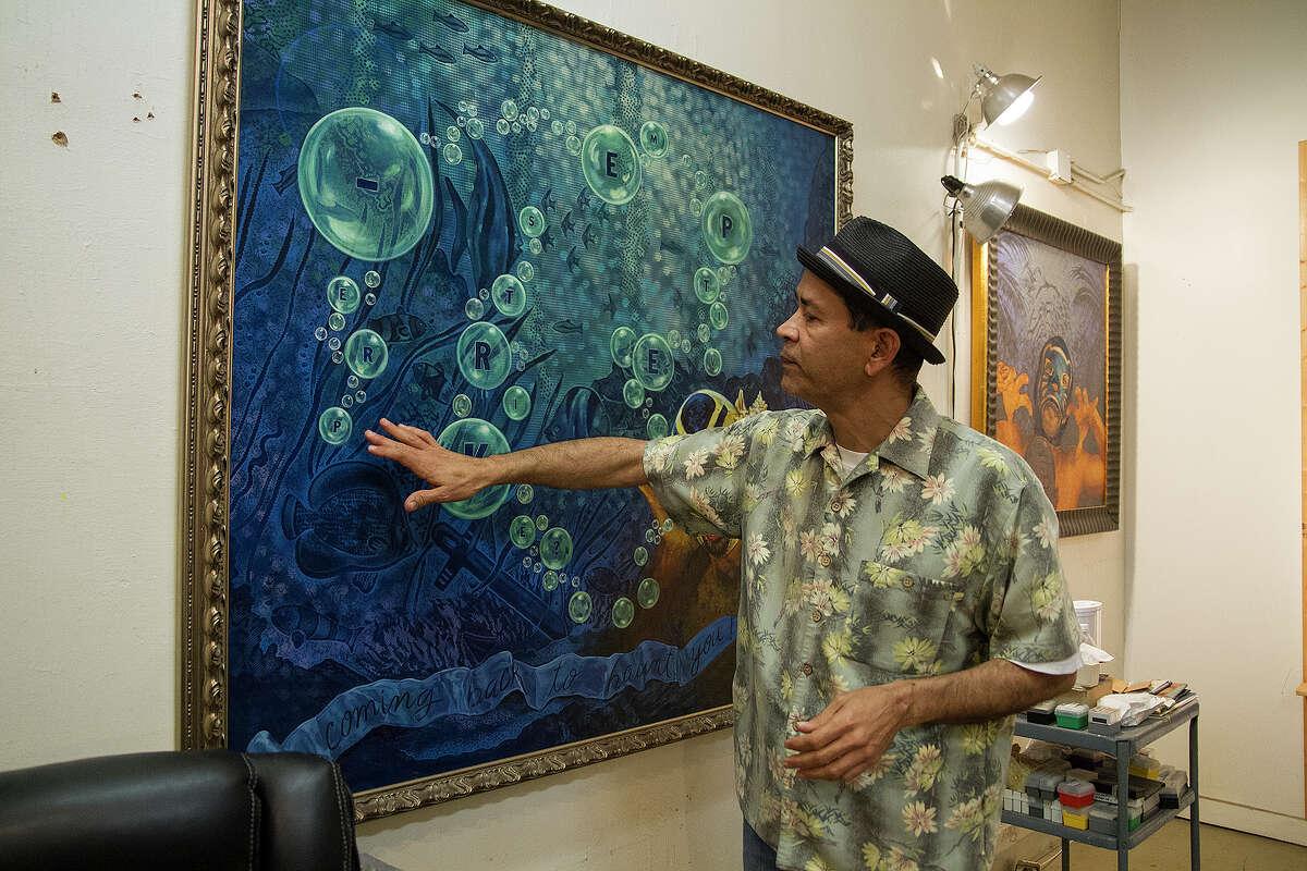 Angel Rodriguez-Diaz in his studio on Frederickburg Road, Friday, Feb. 13, 2015.